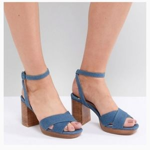 Asos Faith Wide Fit Stacked Heel Sandal